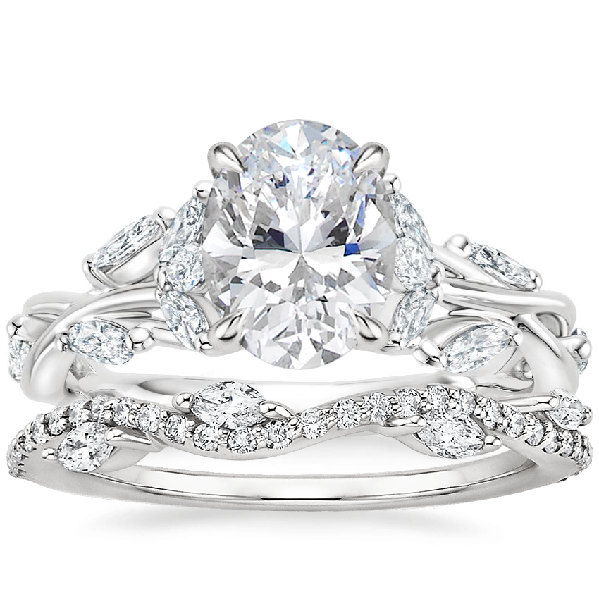 18K White Gold Secret Garden Diamond Ring (1/2 ct. tw.) with Luxe Winding Willow Diamond Ring (1/4 ct. tw.)