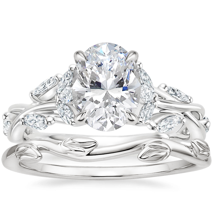18K White Gold Secret Garden Diamond Ring (1/2 ct. tw.) with Winding Willow Ring