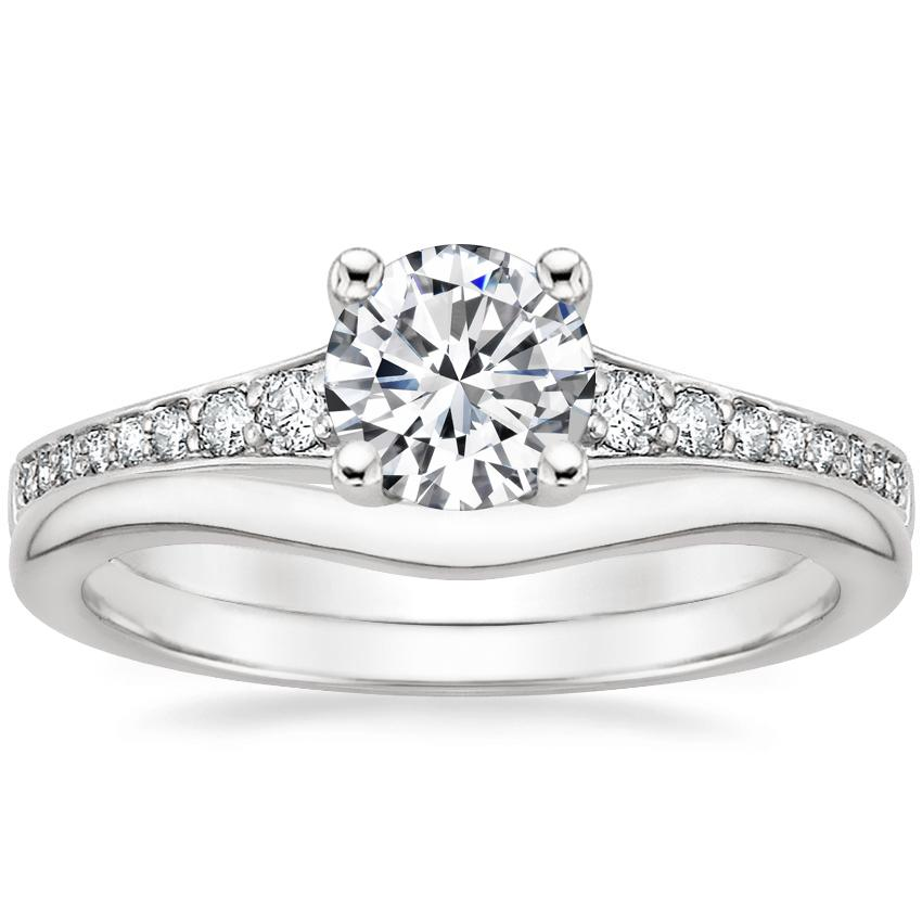 18K White Gold Poetica Diamond Ring with Petite Curved Wedding Ring