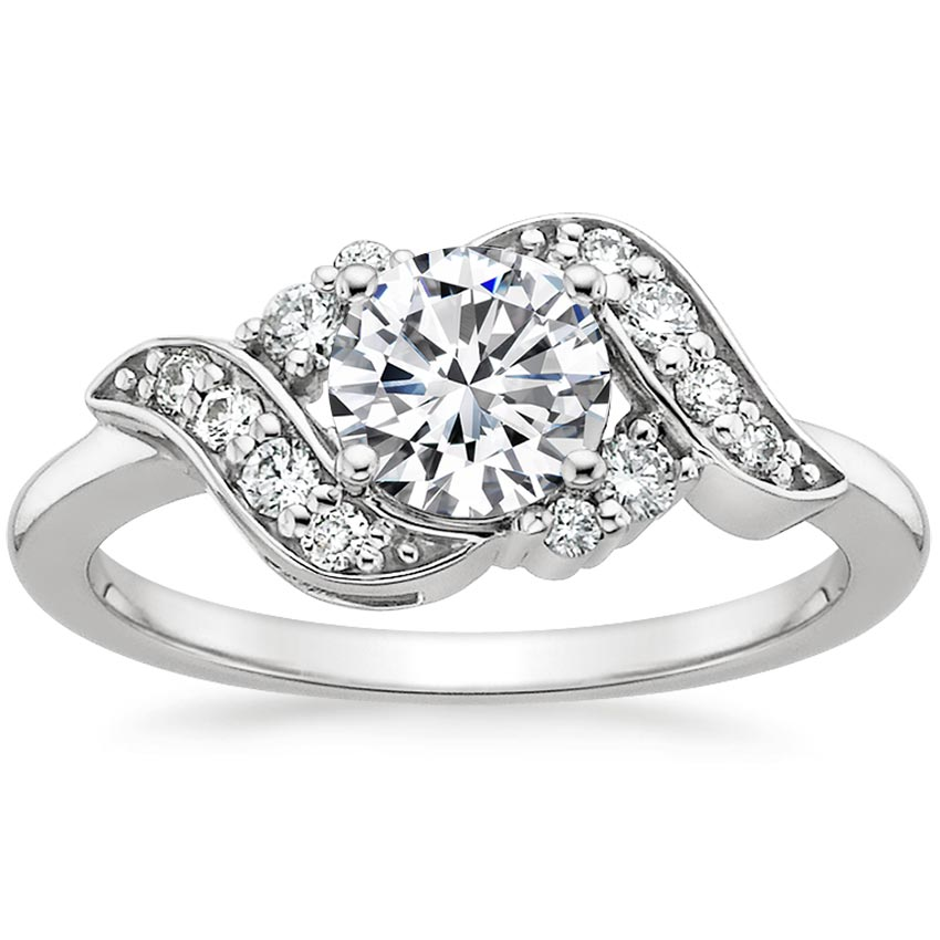 18K White Gold Polaris Diamond Ring, top view