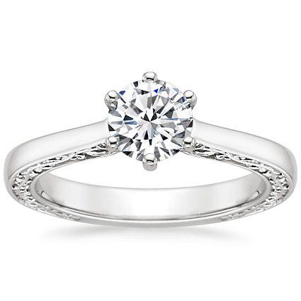Round 18K White Gold Secret Garden Ring