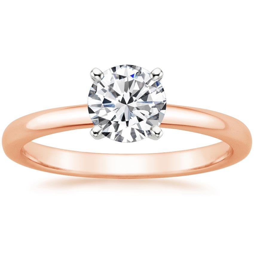 14K Rose Gold 2mm Comfort Fit Ring, top view
