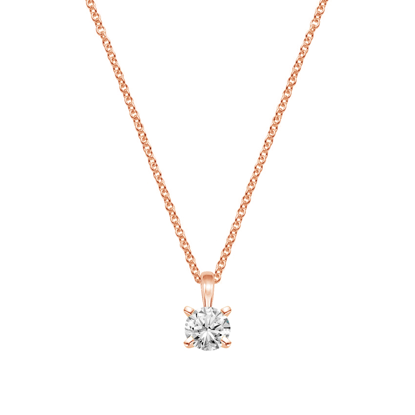 14K Rose Gold Single Bail Four Prong Pendant, top view