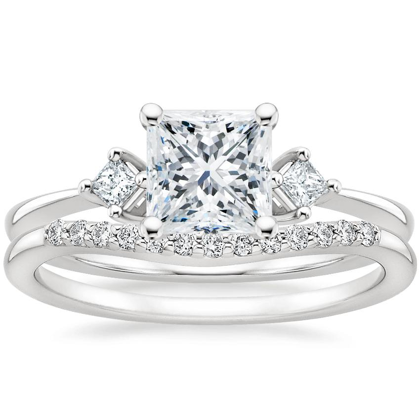 18K White Gold Tria Diamond Ring with Petite Curved Diamond Ring