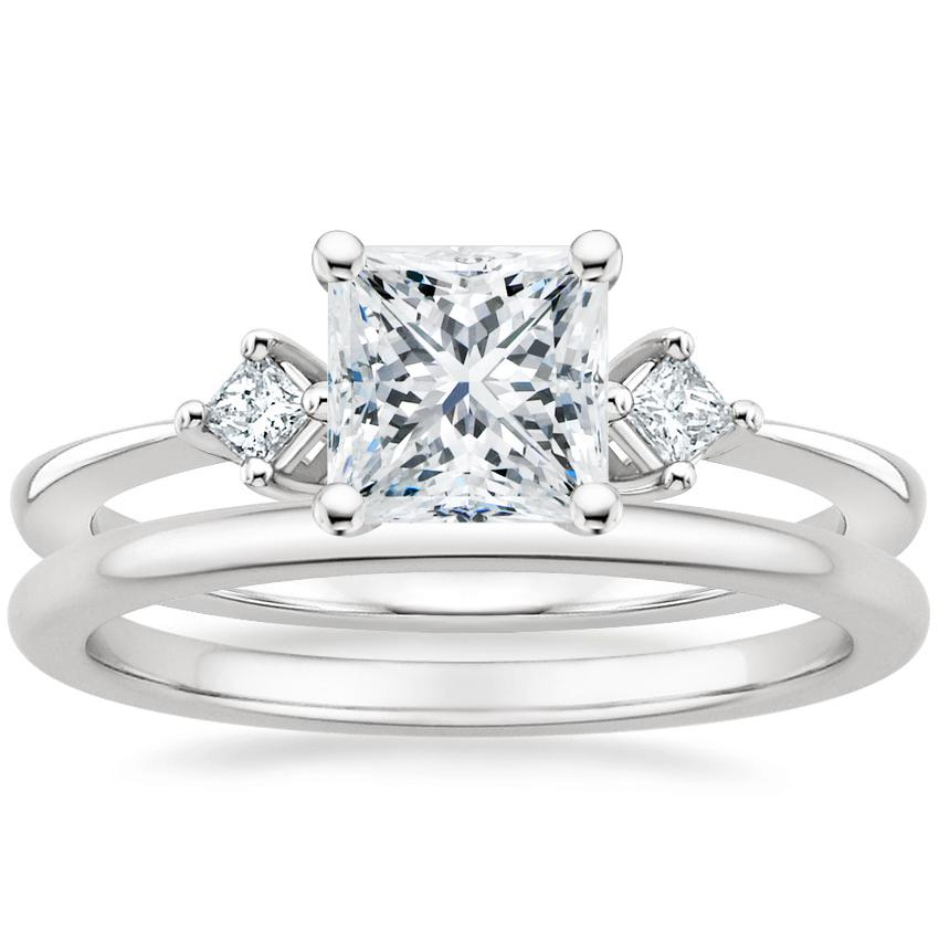 18K White Gold Tria Diamond Ring with Petite Comfort Fit Wedding Ring
