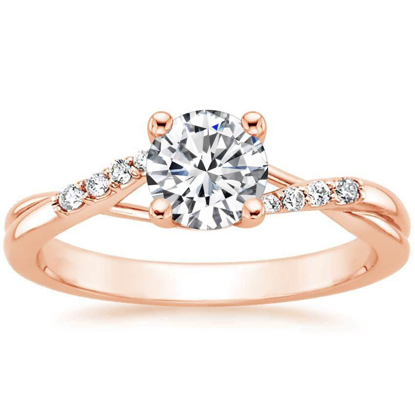 14K Rose Gold Chamise Diamond Ring, top view