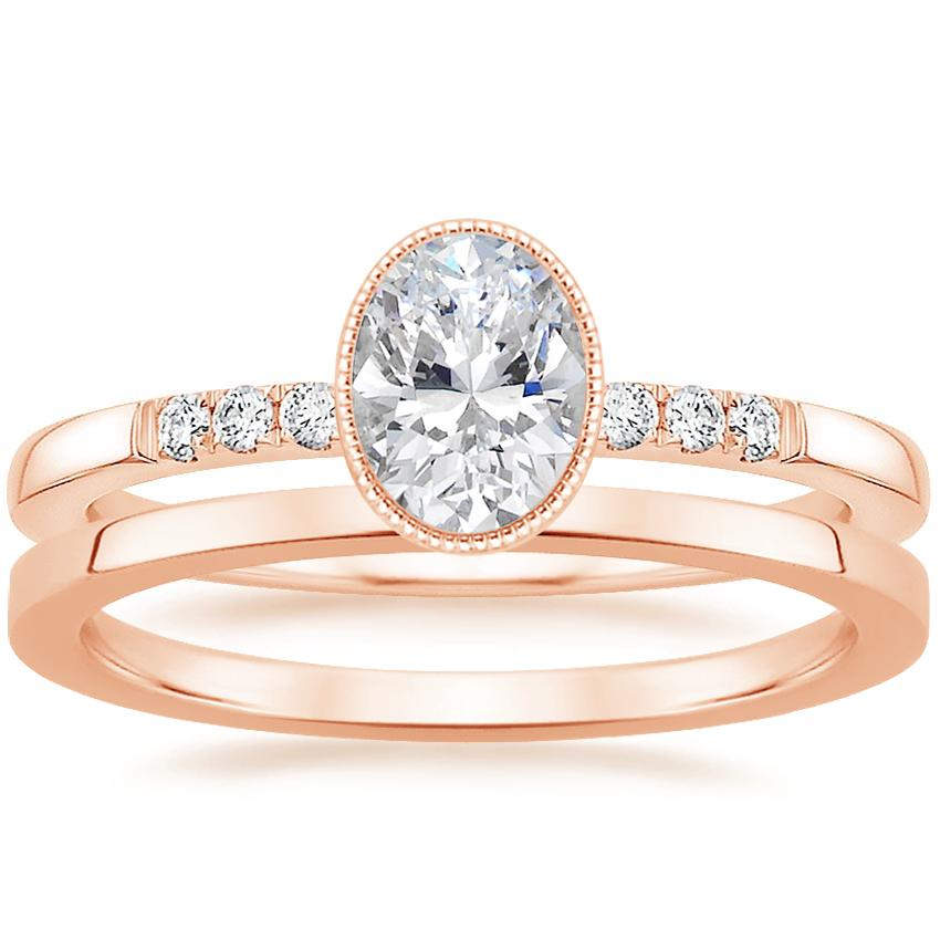 14K Rose Gold Imogen Diamond Ring with Petite Quattro Wedding Ring