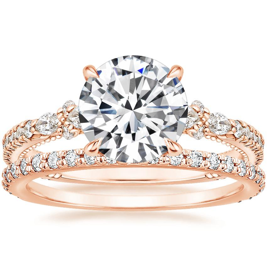14K Rose Gold Primrose Diamond Ring with Luxe Sonora Diamond Ring (1/4 ct. tw.)