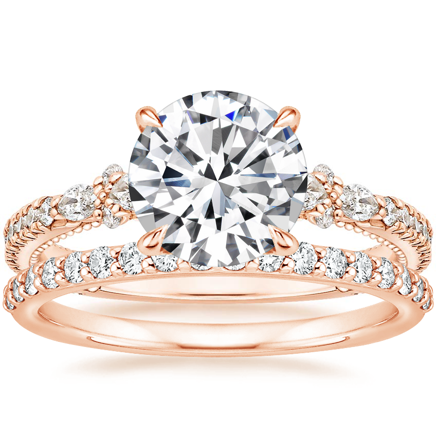 14K Rose Gold Primrose Diamond Ring with Petite Shared Prong Diamond Ring (1/4 ct. tw.)
