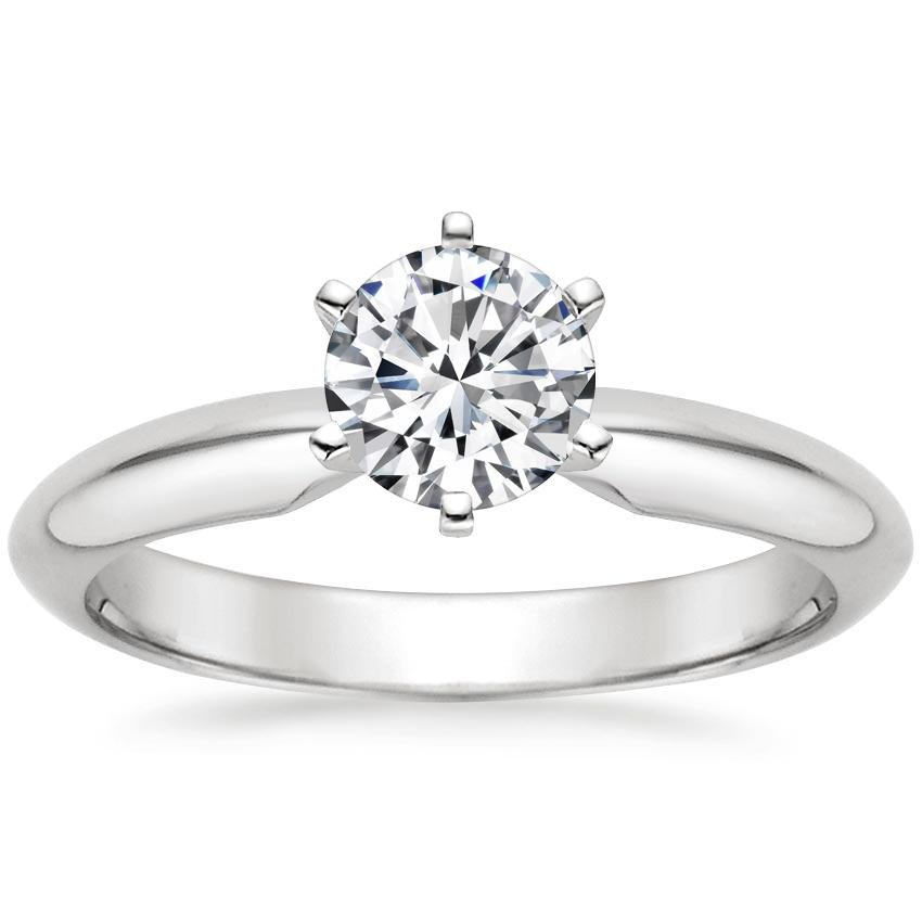 Platinum Six-Prong Classic Ring, top view