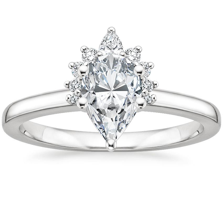 Pear Platinum Crescent Diamond Ring