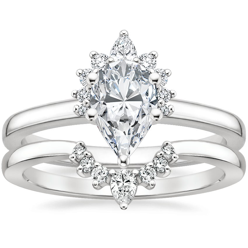 Platinum Crescent Diamond Ring with Lunette Diamond Ring