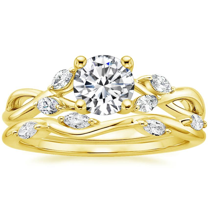 18K Yellow Gold Willow Diamond Ring with Winding Willow Diamond Ring (1/8 ct. tw.)