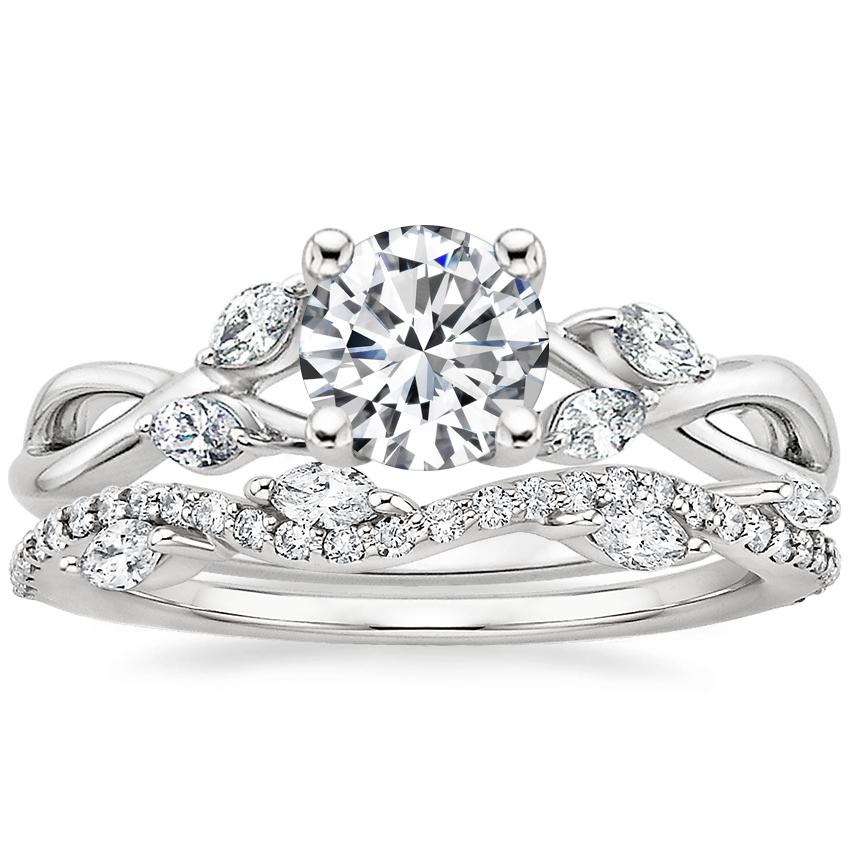 18K White Gold Willow Diamond Ring with Luxe Winding Willow Diamond Ring (1/4 ct. tw.)