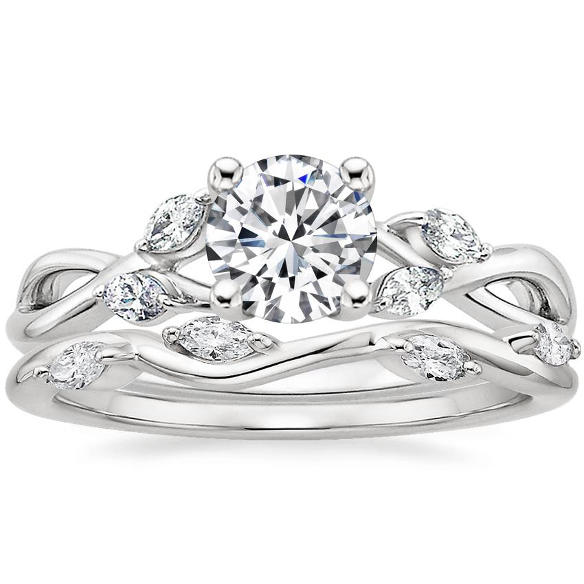 18K White Gold Willow Diamond Ring with Winding Willow Diamond Ring (1/8 ct. tw.)