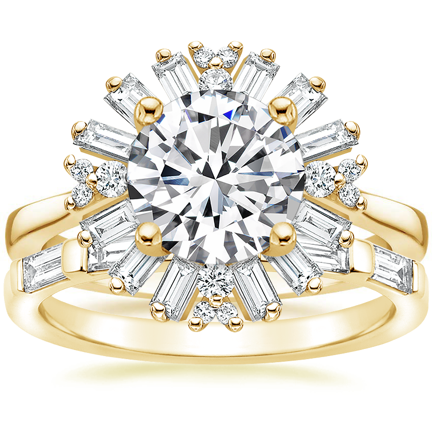 18K Yellow Gold Ballerina Diamond Ring with Lane Diamond Ring (1/3 ct. tw.)