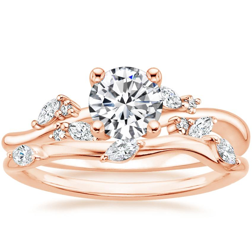 14K Rose Gold Arden Diamond Ring with Willow Contoured Diamond Ring (1/10 ct. tw.)