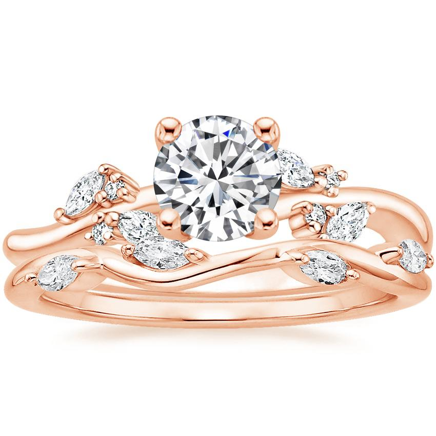14K Rose Gold Arden Diamond Ring with Winding Willow Diamond Ring (1/8 ct. tw.)