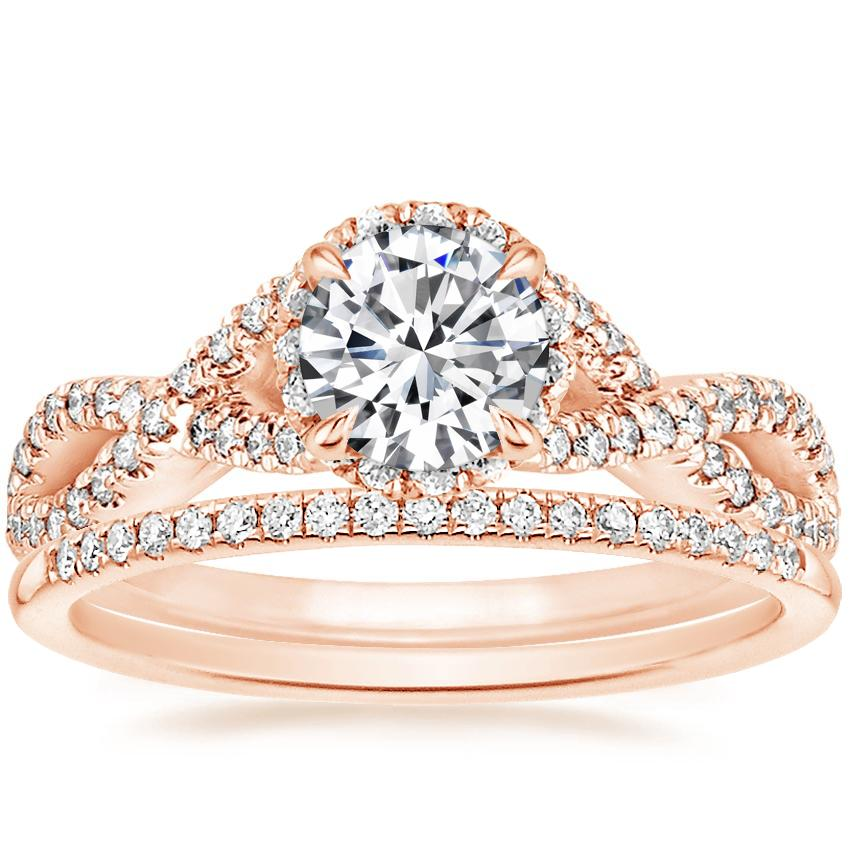 14K Rose Gold Entwined Halo Diamond Ring (1/3 ct. tw.) with Whisper Diamond Ring (1/10 ct. tw.)
