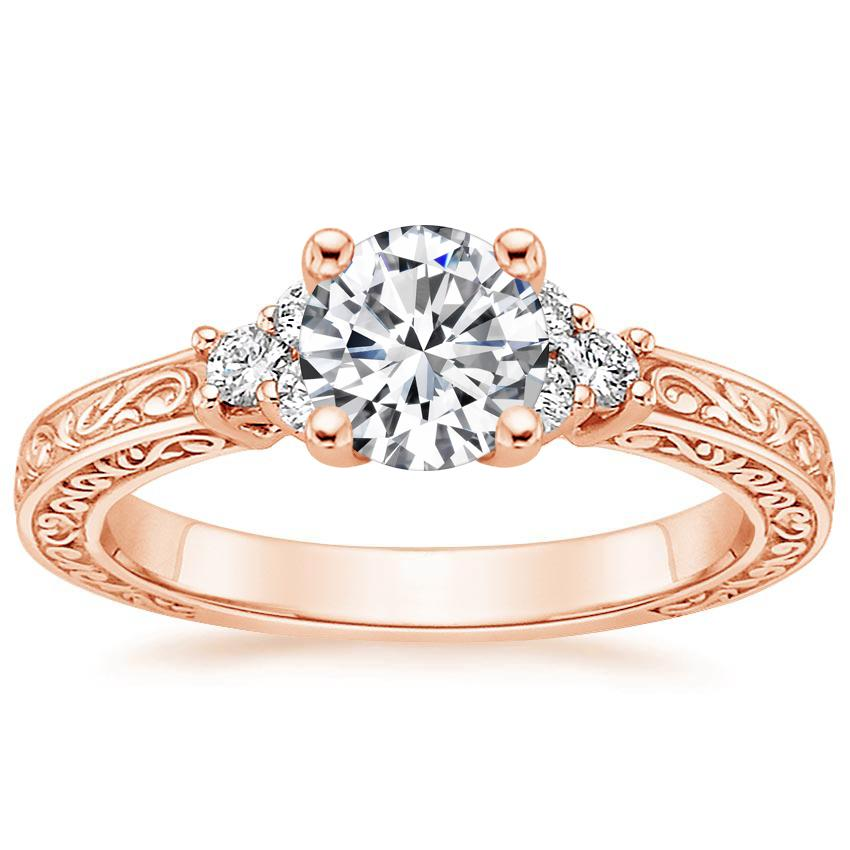 14K Rose Gold Adorned Trio Diamond Ring, top view