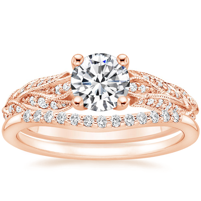 14K Rose Gold Plume Diamond Ring with Petite Curved Diamond Ring
