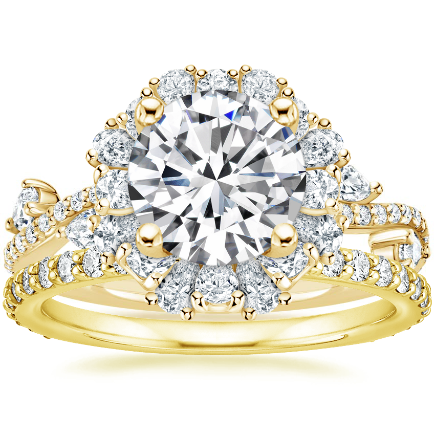 18K Yellow Gold Blooming Rose Diamond Ring (1 ct. tw.) with Luxe Petite Shared Prong Diamond Ring (3/8 ct. tw.)