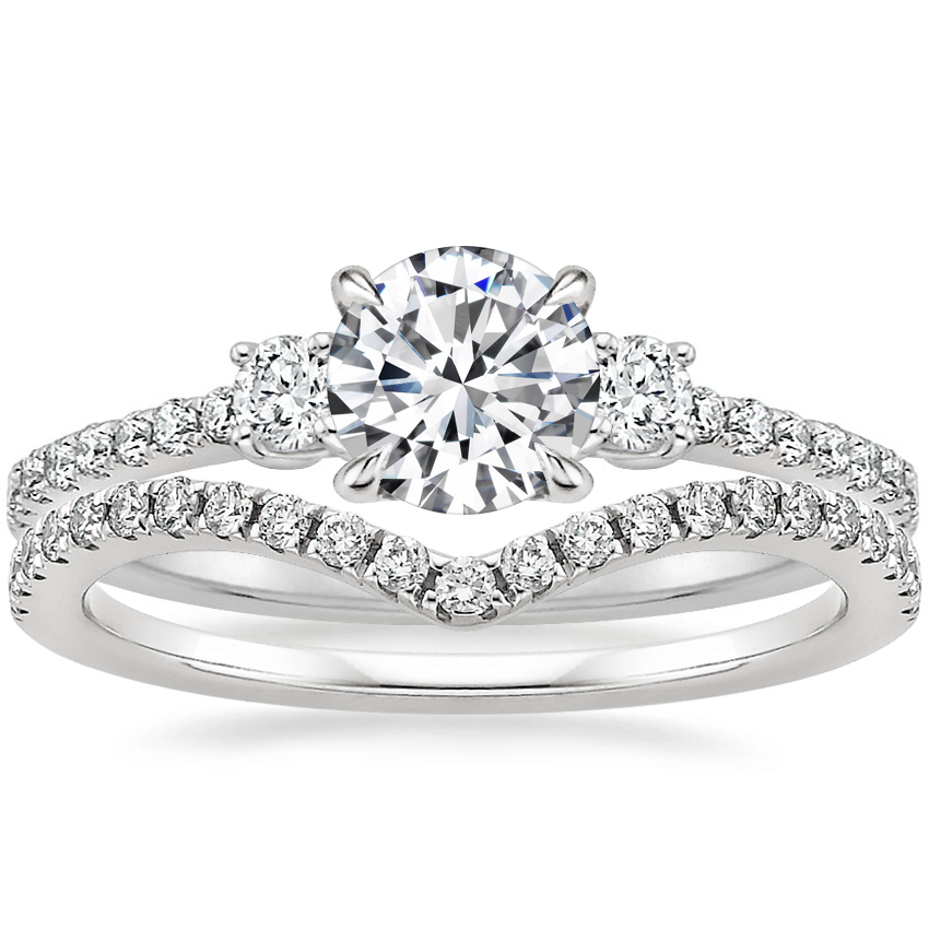 Platinum Lyra Diamond Ring (1/4 ct. tw.) with Flair Diamond Ring