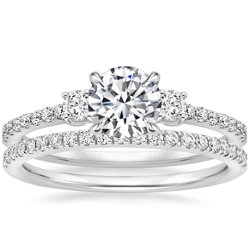 Platinum Lyra Diamond Ring (1/4 ct. tw.) with Ballad Diamond Ring (1/6 ct. tw.)