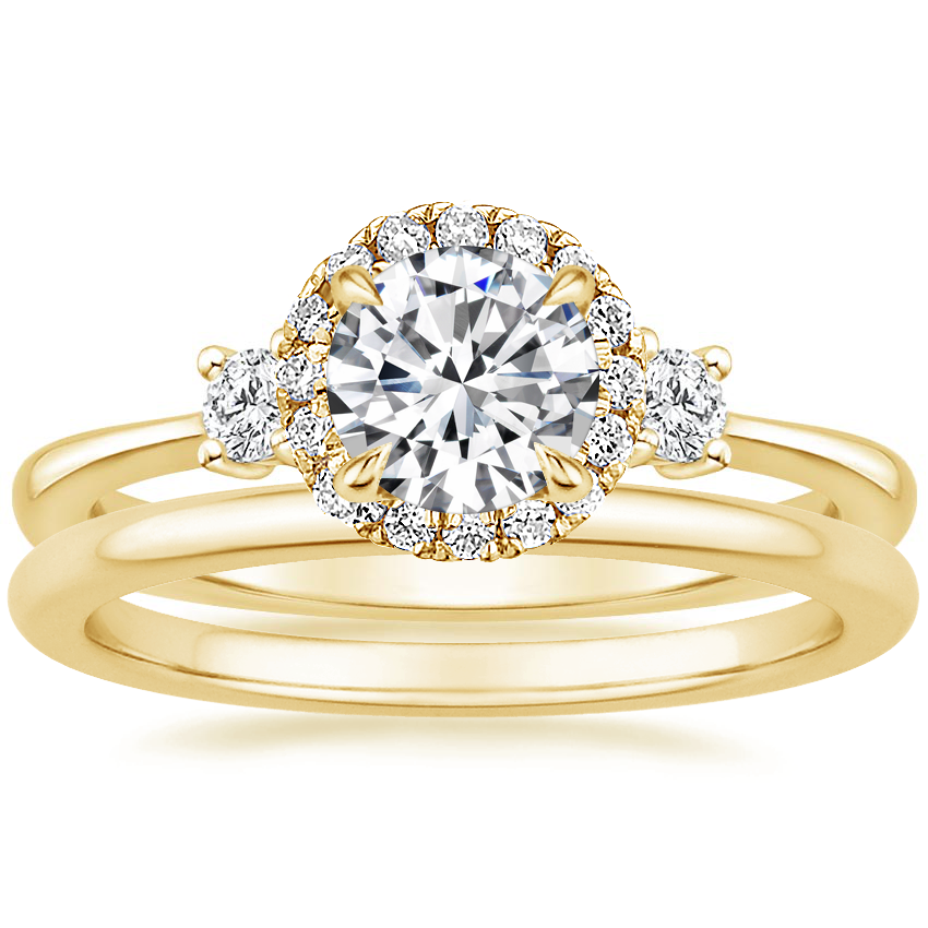 18K Yellow Gold Selene Halo Diamond Ring (1/4 ct. tw.) with Petite Comfort Fit Wedding Ring