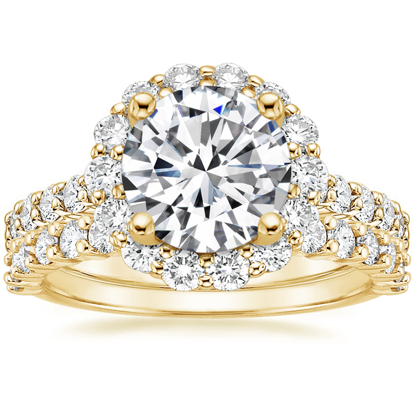 18K Yellow Gold Lotus Flower Diamond Ring with Side Stones with Shared Prong Diamond Ring (2/5 ct. tw.)