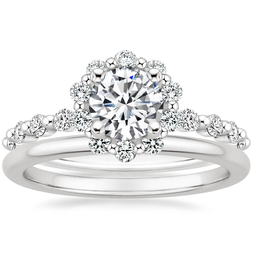 Platinum Marseille Halo Diamond Ring (1/2 ct. tw.) with Petite Comfort Fit Wedding Ring