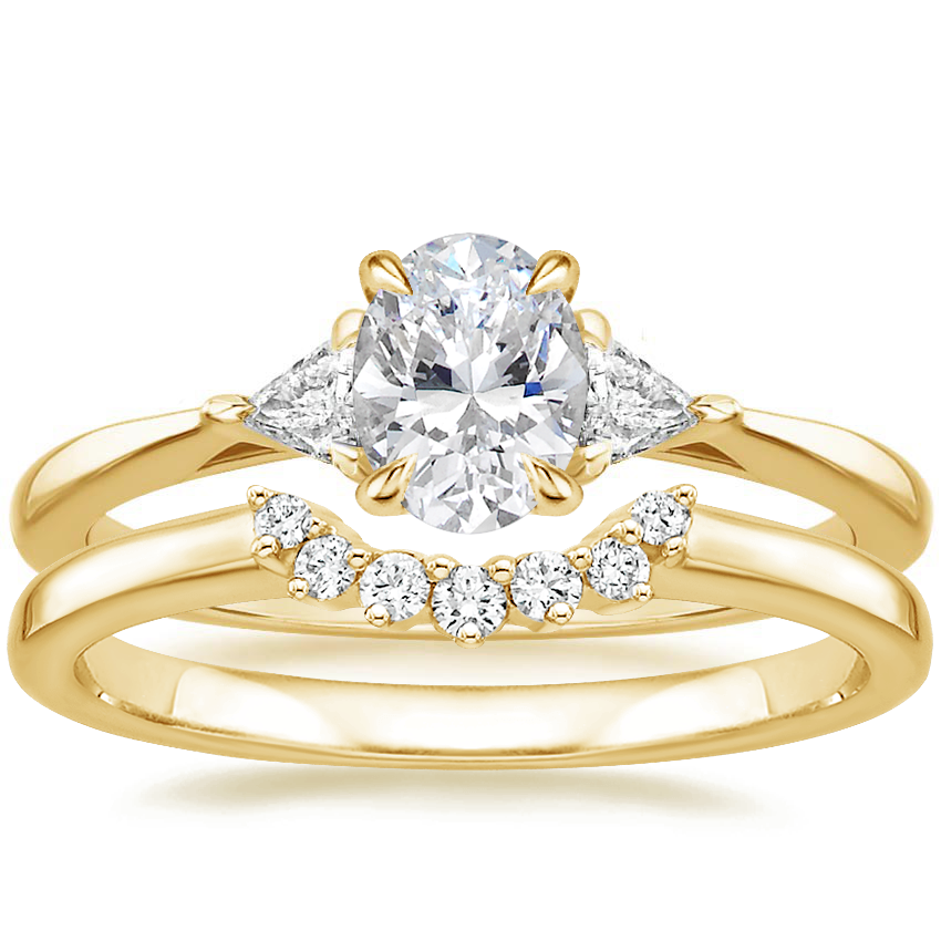 18K Yellow Gold Esprit Diamond Ring with Crescent Diamond Ring