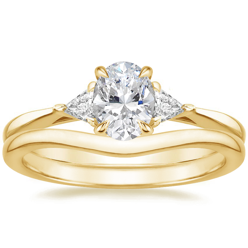 18K Yellow Gold Esprit Diamond Ring with Petite Curved Wedding Ring