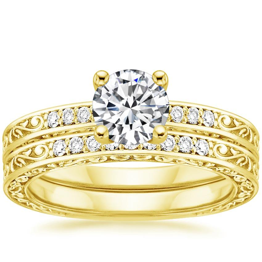 18K Yellow Gold Delicate Antique Scroll Diamond Bridal Set