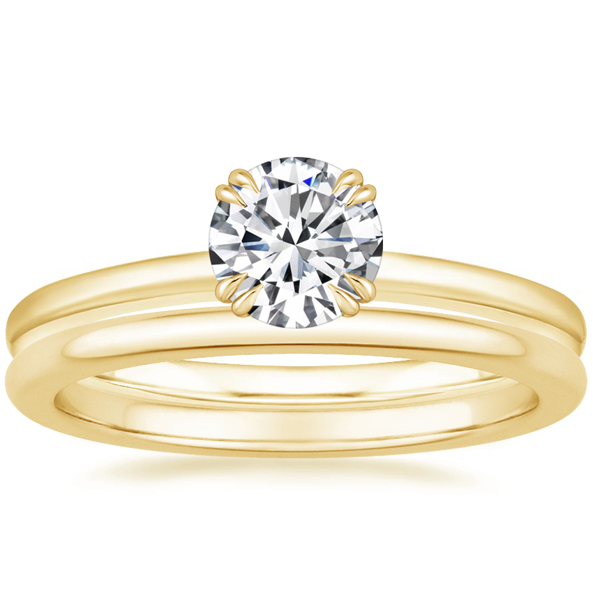 18K Yellow Gold Sora Diamond Ring with Petite Comfort Fit Wedding Ring