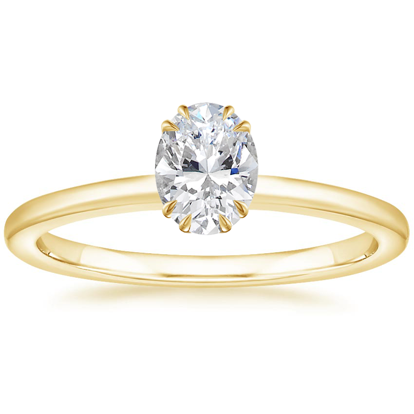 Oval Double Claw Prong Accents Engagement Ring