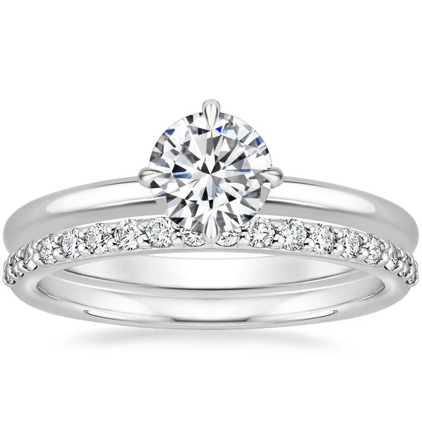 18K White Gold North Star Ring with Petite Shared Prong Diamond Ring (1/4 ct. tw.)