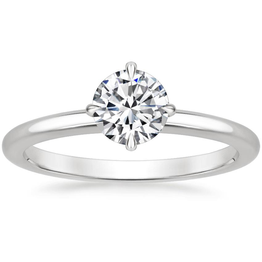 Round 18K White Gold North Star Ring