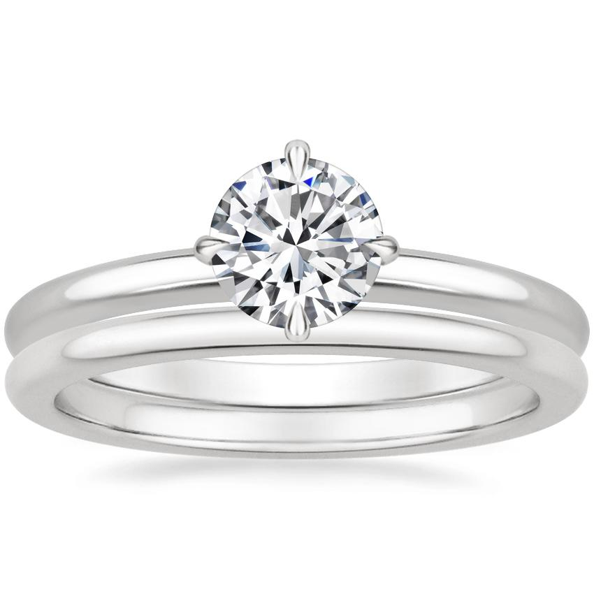 18K White Gold North Star Ring with Petite Comfort Fit Wedding Ring