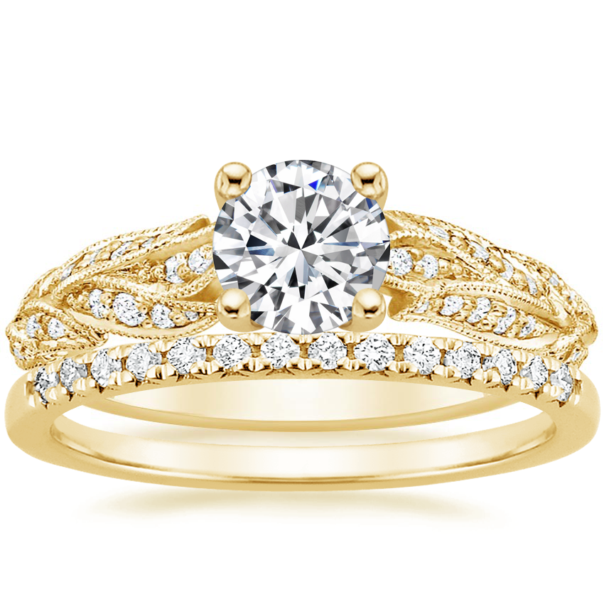18K Yellow Gold Plume Diamond Ring with Sonora Diamond Ring (1/8 ct. tw.)
