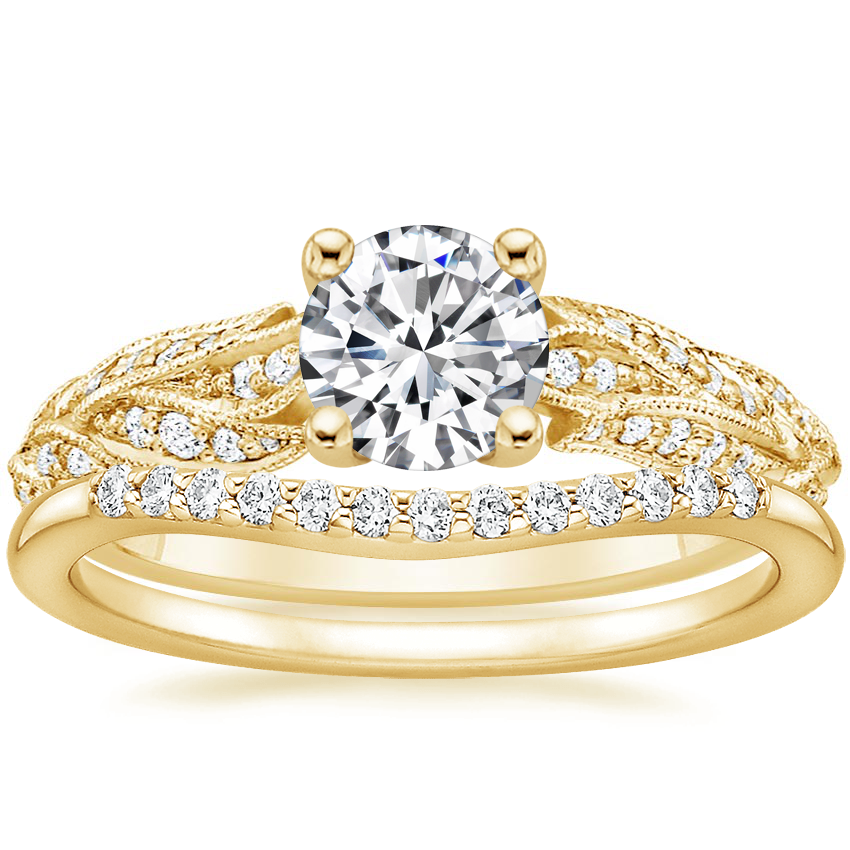 18K Yellow Gold Plume Diamond Ring with Petite Curved Diamond Ring