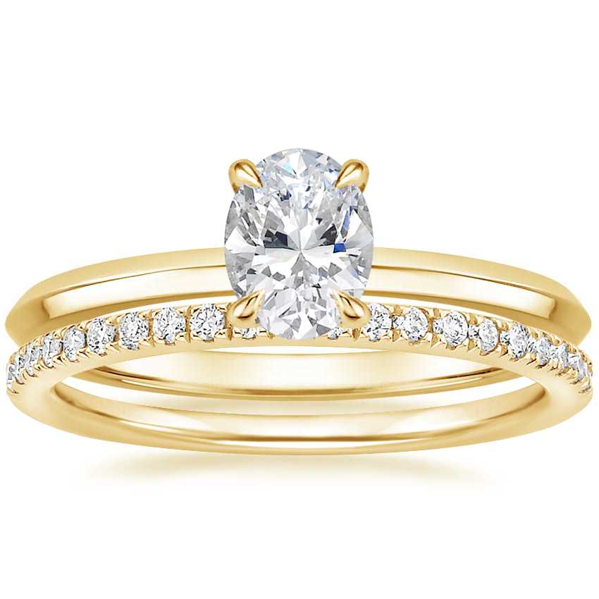 18K Yellow Gold Hazel Ring with Ballad Diamond Ring (1/6 ct. tw.)