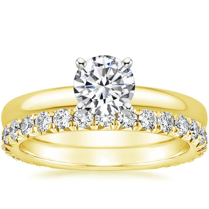 18K Yellow Gold 2.5mm Comfort Fit Ring with Luxe Sienna Diamond Ring (5/8 ct. tw.)