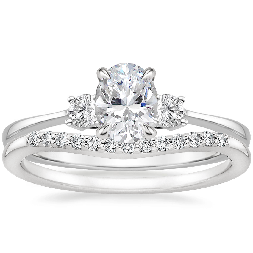 18K White Gold Selene Diamond Ring (1/10 ct. tw.) with Petite Curved Diamond Ring (1/10 ct. tw.)