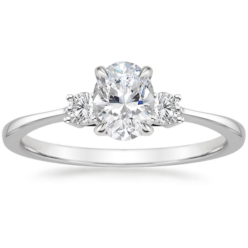 Oval 18K White Gold Selene Diamond Ring