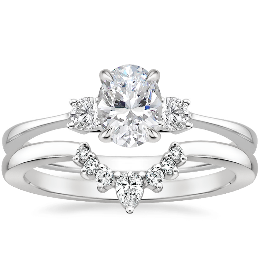 Platinum Selene Diamond Ring with Lunette Diamond Ring