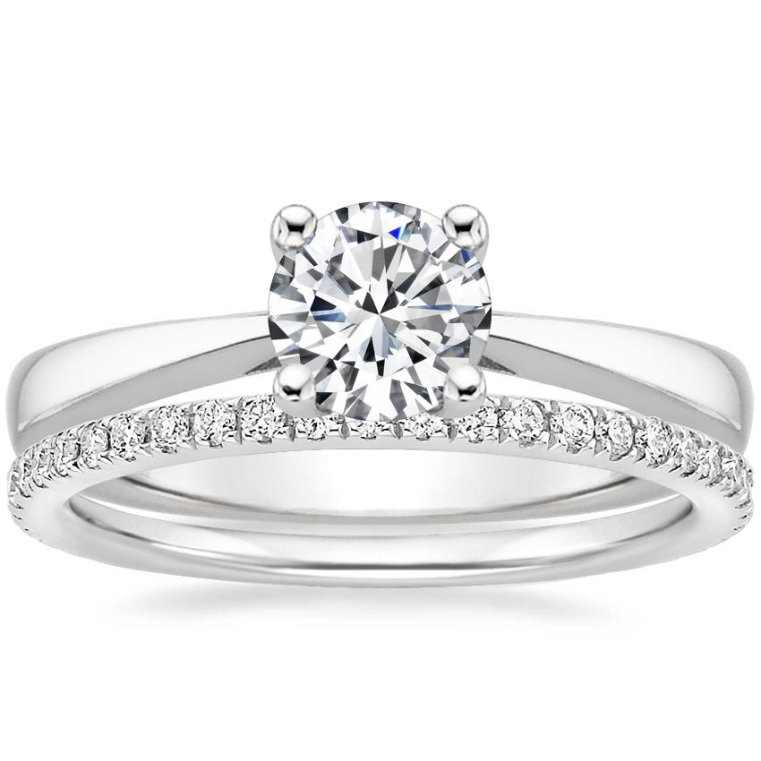 18K White Gold Petite Tapered Trellis Ring with Luxe Ballad Diamond Ring (1/4 ct. tw.)
