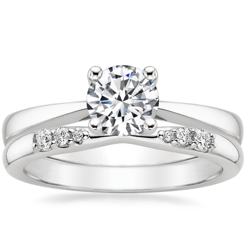 18K White Gold Petite Tapered Trellis Ring with Lark Diamond Ring