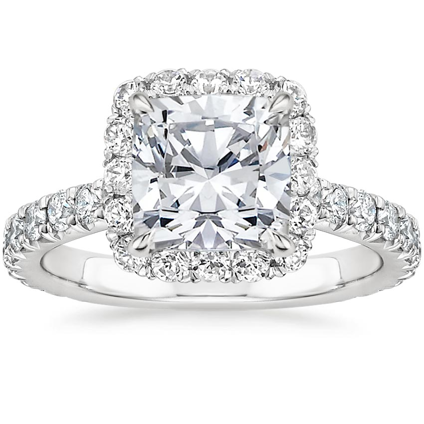 Cushion French Halo Engagement Ring