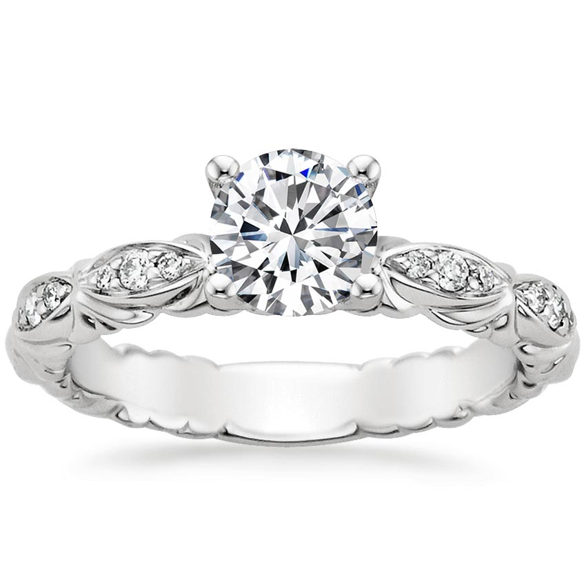18K White Gold Paloma Diamond Ring, top view